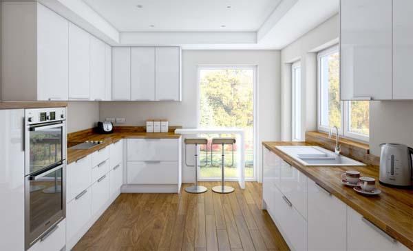 Blanco y madera el t ndem ideal para la cocina decoraci n - Cocinas de color blanco ...
