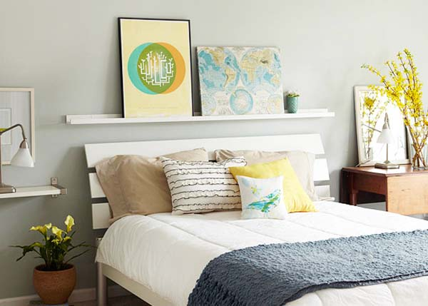 decoraci n decorar con estantes sobre la cama