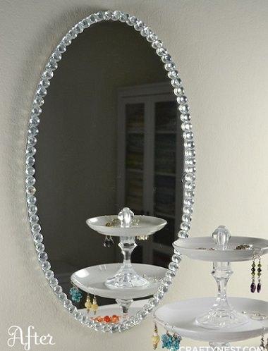 espejo DIY con cristales
